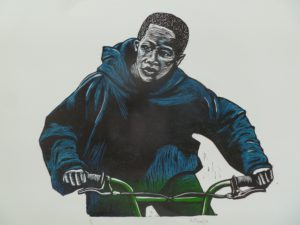 Aviwe Plaatjie, SA (1988-) My Bicycle, signed 2015 Colour linocut, 6/6 49cm x 34cm