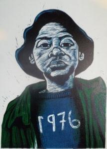Aviwe Plaatjie, SA (1988-) 1976, signed 2015 Colour linocut, 4/7 19cm x 29cm