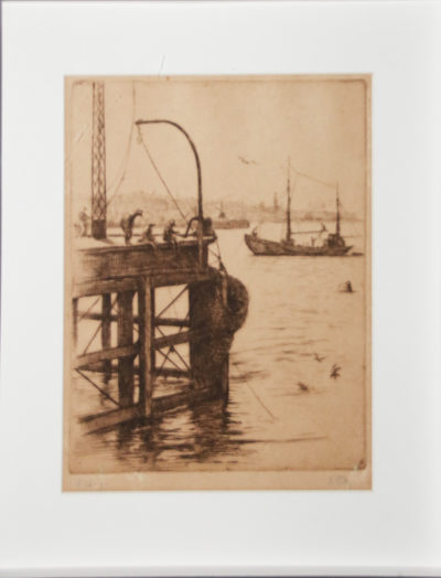 Dorothy Kay, Ireland/SA (1886-1964) Fishing, signed Etching 20cm x 27cm