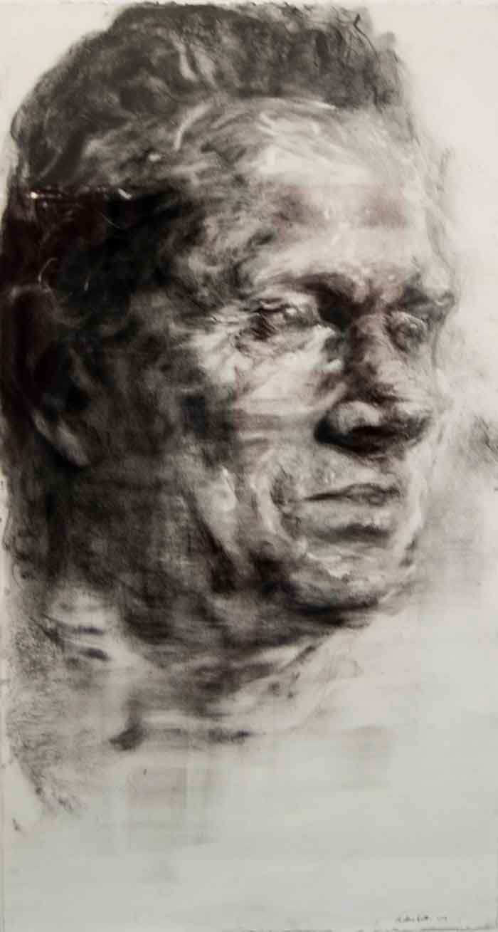 Pauline Gütter, SA (1980-), Stream II, charcoal on arches paper, signed 2016, 120 x 72,3cm