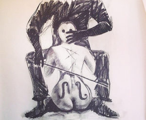 Ronald Muchatuta, Zimbabwe/SA (1980-) Under the influence, 2014 Charcoal on paper 198cm x 152cm
