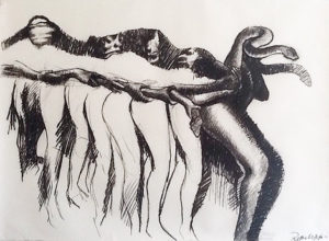Robert Muchatuta, Zimbabwe/SA (1980-) Python Dance, signed 2016 Charcoal on Paper 200cm x 150cm