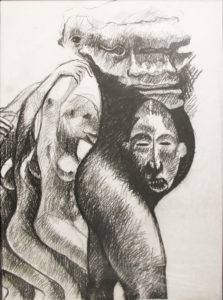 Ronald Muchatuta, Zimbabwe (1980-) Tribal, signed 2016 (panel 3) Charcoal on Paper 95cm x 150cm