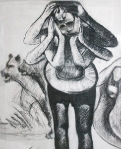 Ronald Muchatuta, Zimbabwe (1980-) Tribal, signed 2016 (panel 2) Charcoal on Paper 95cm x 150cm