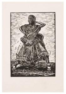 Dzunisani Maluleke, SA (1986-) Mtsako ho ti Ndlela, 2013 Linocut 3/10 35,5 cm x 50cm