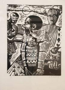 Ricky Dyaloyi, SA (1983-) Dispel the lies Linocut 3/6, signed 1997 41cm x 49cm