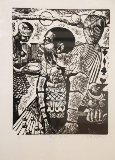 Ricky Dyaloyi, SA (1983-) Dispel the lies Linocut 3/6, signed 1997 41cm x 49cm