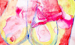 Amy Ayanda, Boobies, Monotype, 2016, Fabriano 59 x 43 cm