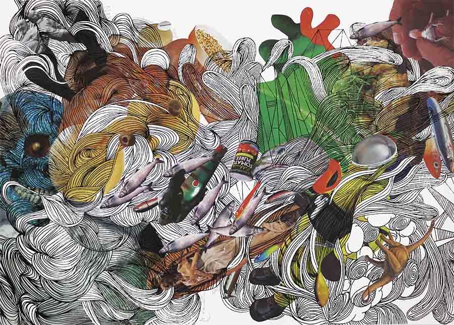 Asuka Nirasawa Synchronicity; time 2 2017 Silkscreen print, digital print, ink on Fabriano, variable edition of 4+ E.V, 59,4 x 42 cm