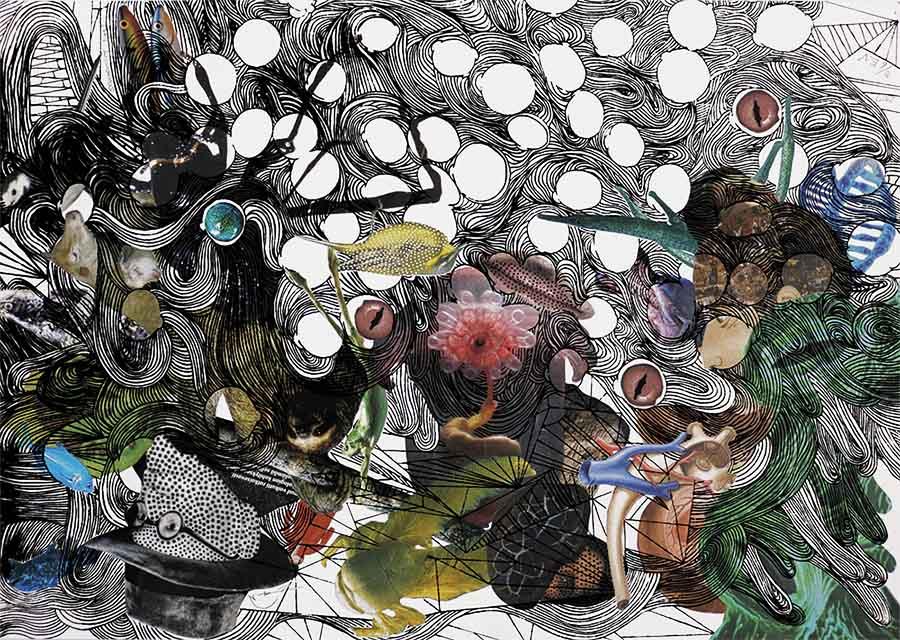 Asuka Nirasawa Synchronicity; time 3 2017 Silkscreen print, digital print, ink on Fabriano, variable edition of 4+ E.V 59,4 x 42 cm