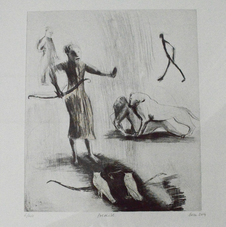 Deborah Bell - Premise, 2014 , Drypoint, chine colle 6/40 , 40cm x 46cm ( SOLD)