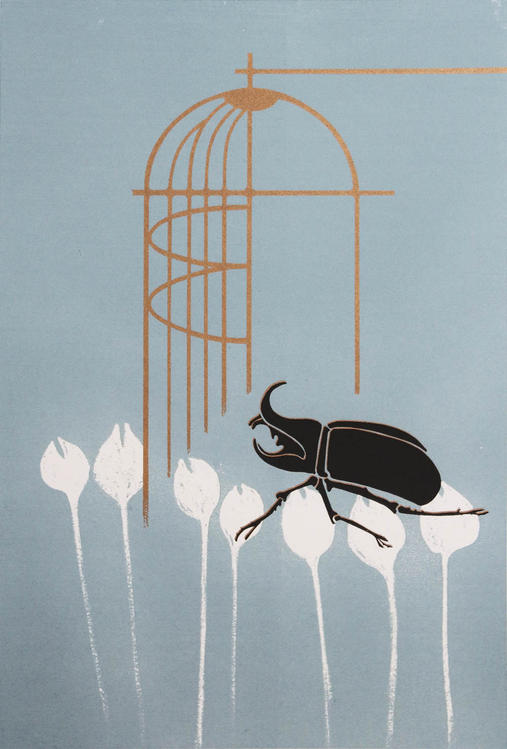 Judith Mason, SA (1928-2016) Beetle and Birdcage, signed 1973 Screenprint, 1of65 32,5cm x 47cm