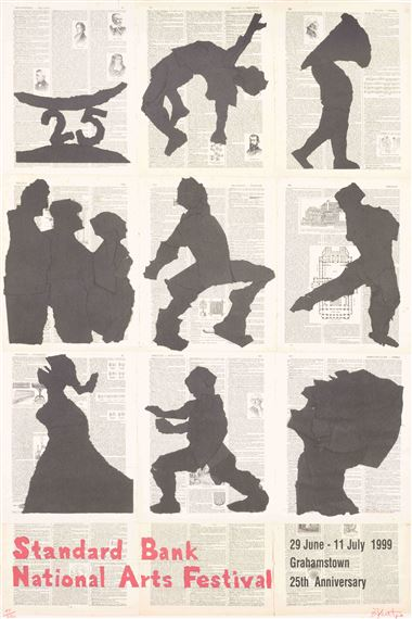 William Kentridge | Standard Bank National Arts Festival, Grahamstown 25th Anniversary , 1999 Poster | Eclectica Print Gallery | Printmaking | Cape Town