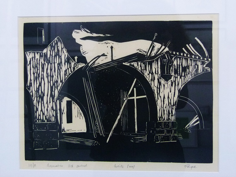Frederick Page, SA1908-1984, Excavation Old Mutual woodcut, signed III of X 37cm x 49cm