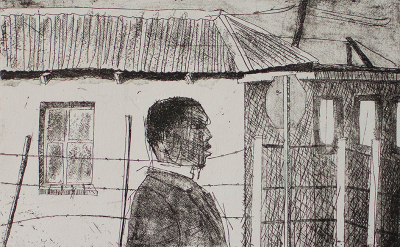 Sam Nhlengethwa, SA ( 1955 - ), Teacher , 2006, Etching, 49%2F50 signed, 20cm x 12cm, SOLD