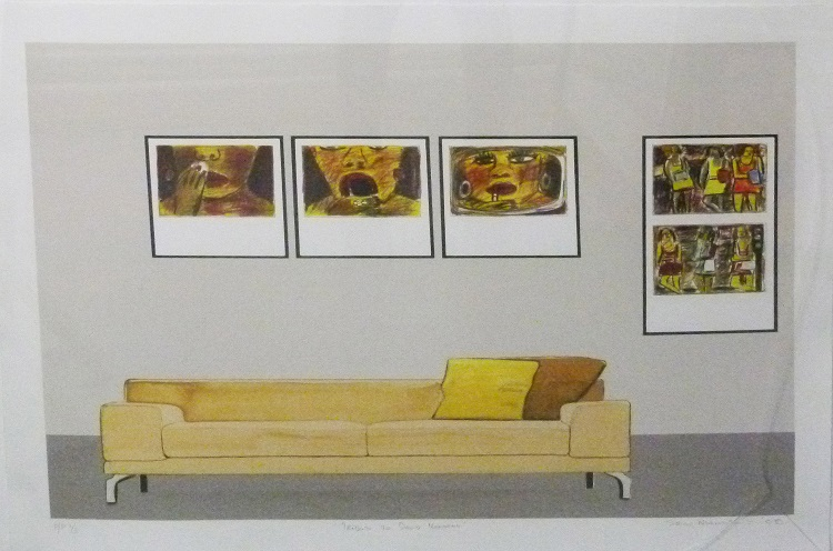 Sam Nhlengethwa, Tribute to David Koloane, Lithograph 2-3 signed 2008, 76cm x 57cm