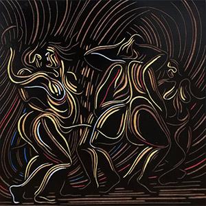 Zolani Siphungela , ( SA 1986 - ) Dancing Woman signed 2019 coloured woodblock 30cm x 30cm