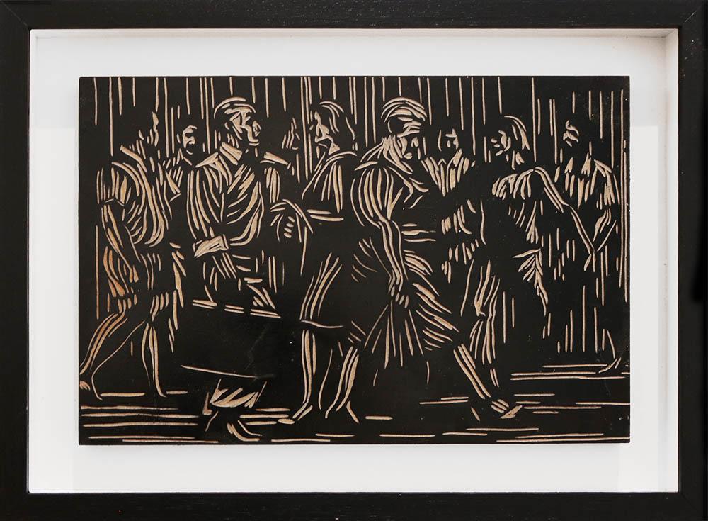 Zolani Siphungela, (SA, 1986 - ) Untitled, 2016, woodblock, 20 x 30 cm