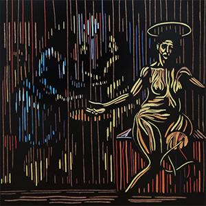 Zolani Siphungela , ( SA 1986 - ) Word Woman II signed 2019 coloured woodblock 30cm x 30cm