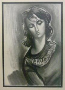 Zoltan Borbereki, Hungary - SA(1907 - 1992) , Portrait Study , Charcoal signed, 54cm x 74cm