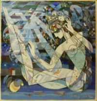 Ji Cheng,China (1942 - ), Night in the Orient, Serigraph on Rag paper, signed , 76-300, 102cm x 102cm