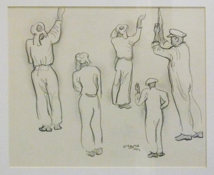 Peter Clarke, Pencil Drawing 1952 17cm x 21cm.
