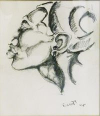 Ezrom Legae, SA(1939 - 1999) ,Figure in Profile, Charcoal 24cm x 32cm