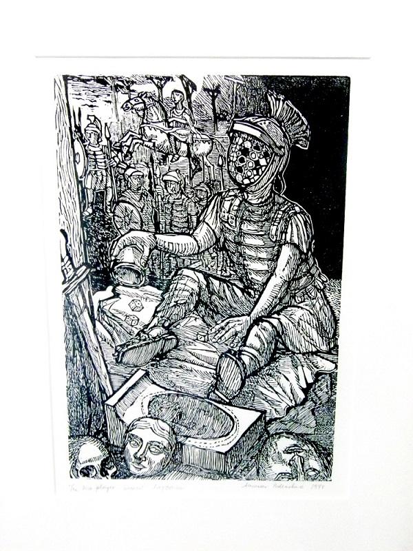 Alexander Podlashuc, (SA, 1930-2009) Rehearsal for a requiem, 1974 Artist's proof woodcut, signed 39cm x 50cm