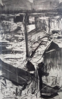 Asanda Kupa, SA(1981 - ),Township I ,2016 Charcoal on paper , signed , 65cm x 100cm, SOLD (1)