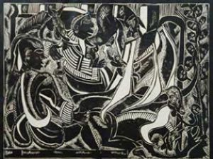 Azaria Mbatha, SA 1941 - ), Jonah and the Whale, Linocut55-100, signed 1965, 72cm x 37cm, SOLD