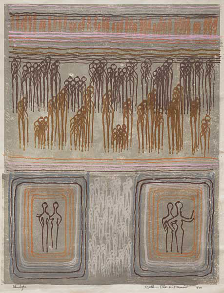 Bettie Cilliers Barnard , (SA 1914 -2010) Gathering of Figures Signed 1974 Monotype 64cm x 47cm