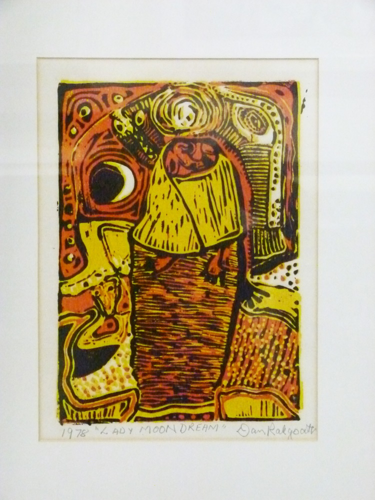 Daniel Rakgoathe (SA, 1937-2004) Adoration, signed 1973 Linocut, 15 of 50 3cm x 3cm