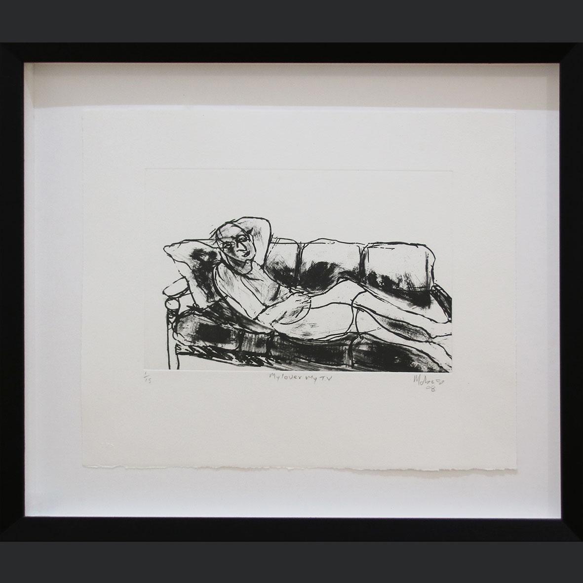 Dumisani Mabaso, My Lover My TV , signed 2008 - etching 1 of 15, 56 x 50.5 cm