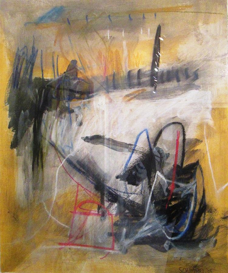 Fred Schimmel, SA (1928 - 2009), Fences, Mixed Media signed 2005, 52cm x 68cm