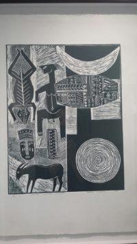 Joseph Muzondo , Zimbabwe ( 1953 - ), Spiritual Universe , Linocut 1-20, signed 2016 35cm x 45cm , SOLD