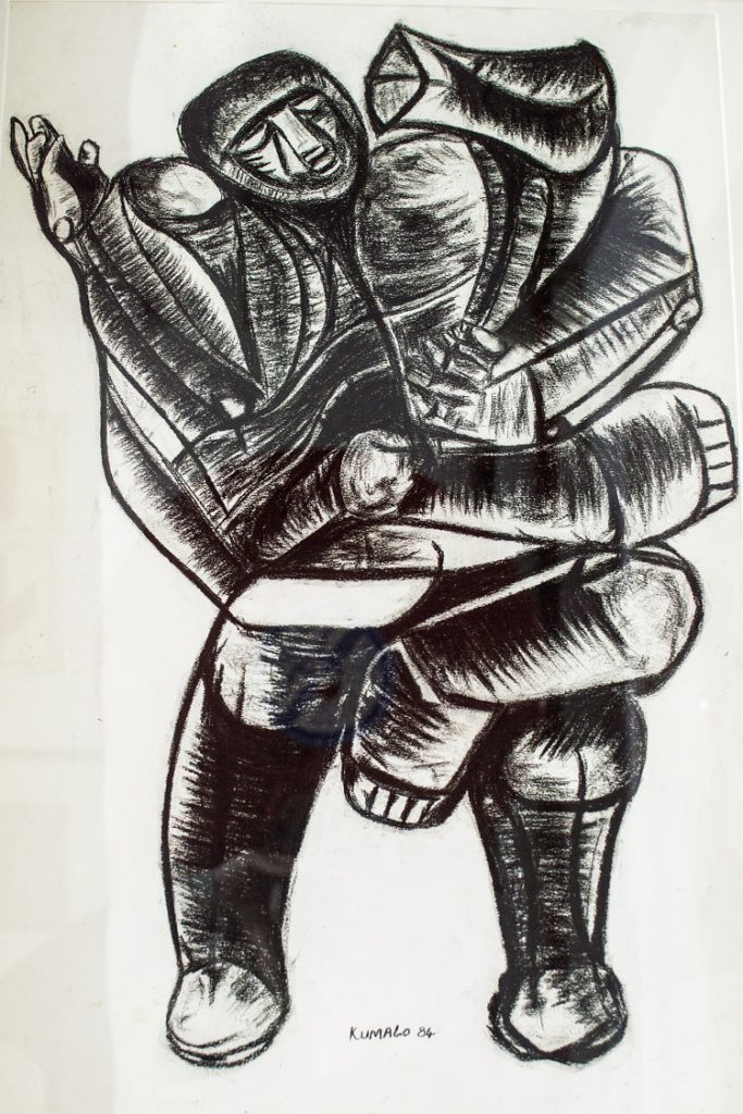 Sydney Kumalo, SA 1935-1988 Figure study -Man and Beast Charcoal, signed 1984 46cm x 68cm