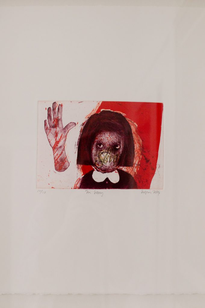 Penny Siopis SA, 1953- I'm Sorry, signed 2004 Etching and aquitint, III of X 37.8cm x 45cm