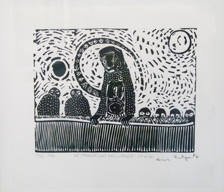 Daniel Rakgoathe (SA, 1937-2004) We cannot wait any longer- an echo, 1974 Linocut, signed 20 of 50 38cm x 34cm