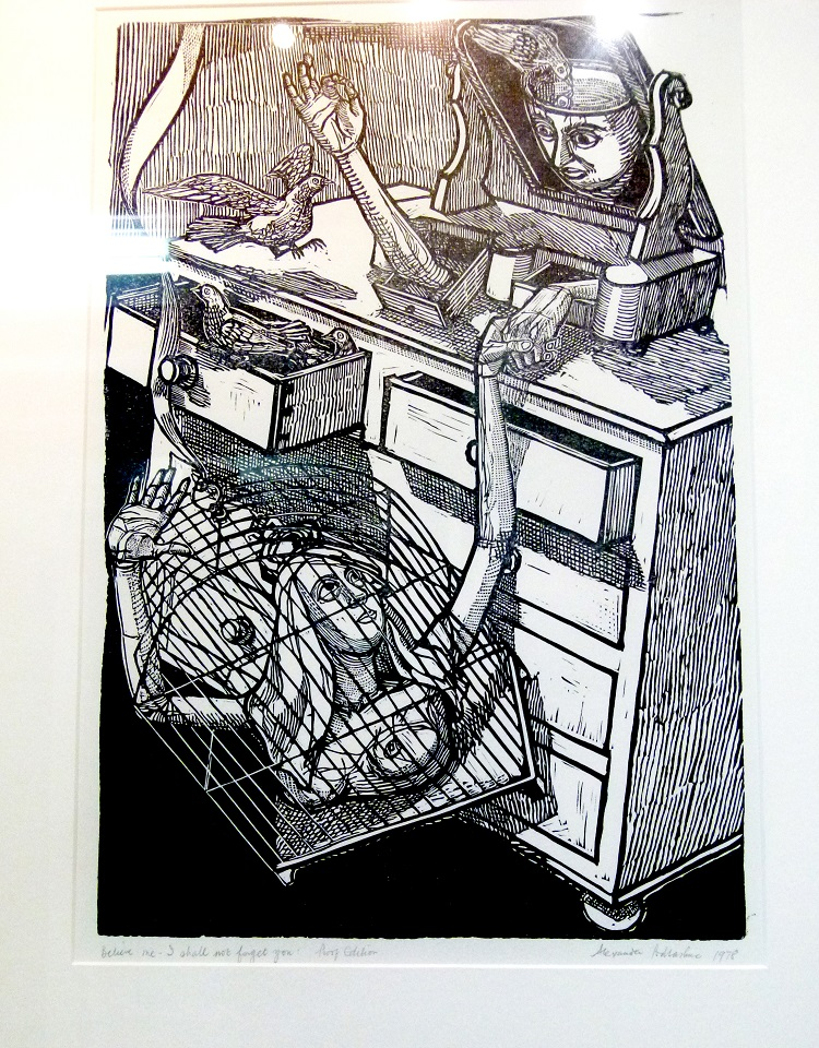 Alexander Podlaschuc, (SA, 1930-2009) Believe me, I shall not forget you, 1978 Proof edition woodcut, signed 30cm x 44cm