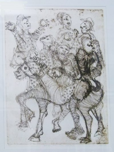 Eric Mbatha SA, 1948-Boys and the Donkey Etching 50cm x 70cm
