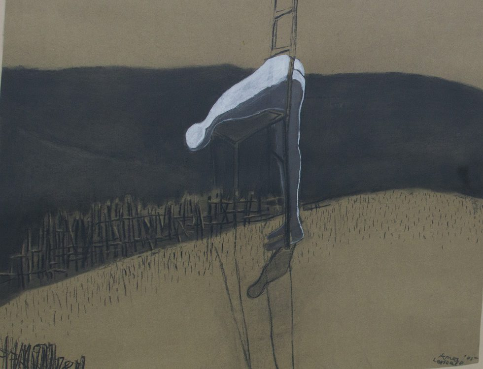 Amos Letsoalo SA, 1969- Figure upon a chair, signed 2005 Mixed media on paper 75cm x 60cm