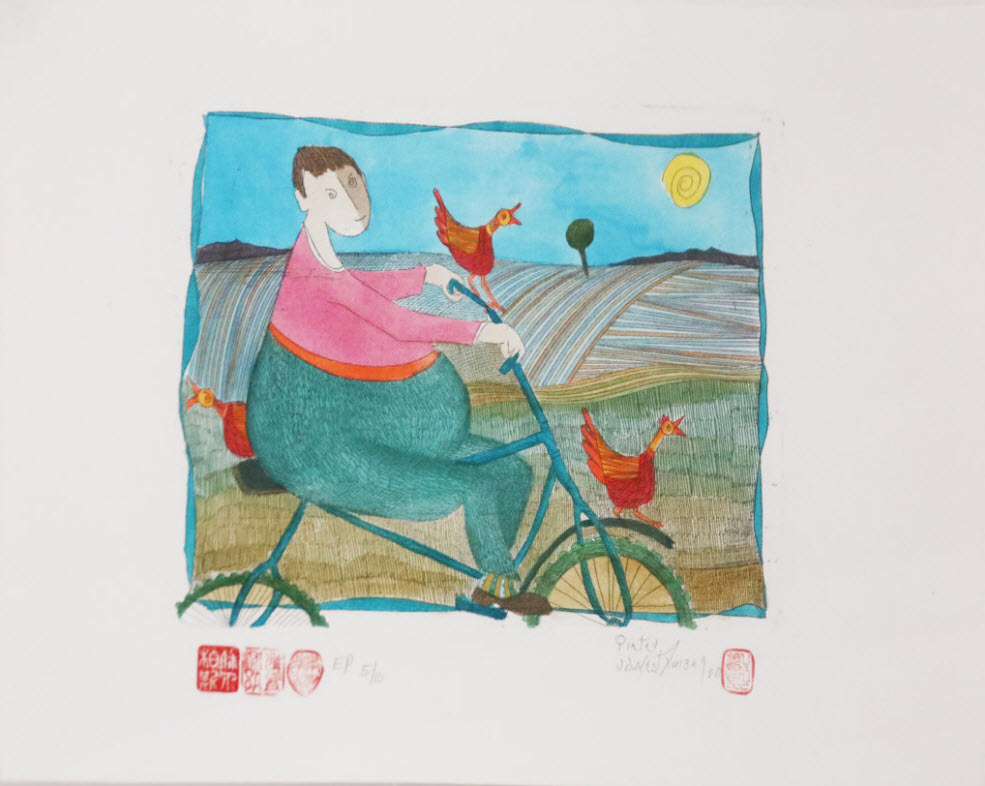 Pieter van der Westhuizen, SA (1931-2008) Op my Bicycle Etching Hand coloured E/P 5/10, signed 1980 20cm x 15cm