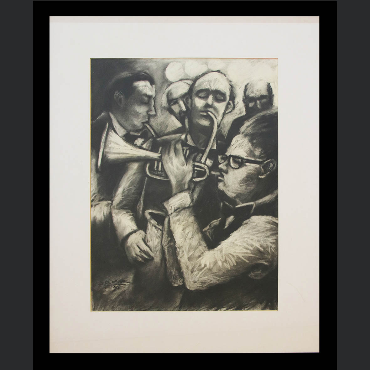 Selwin Pekeur, (SA 1957 - ) , Musicians , signed 1995, charcoal on paper , 57cm x 42cm