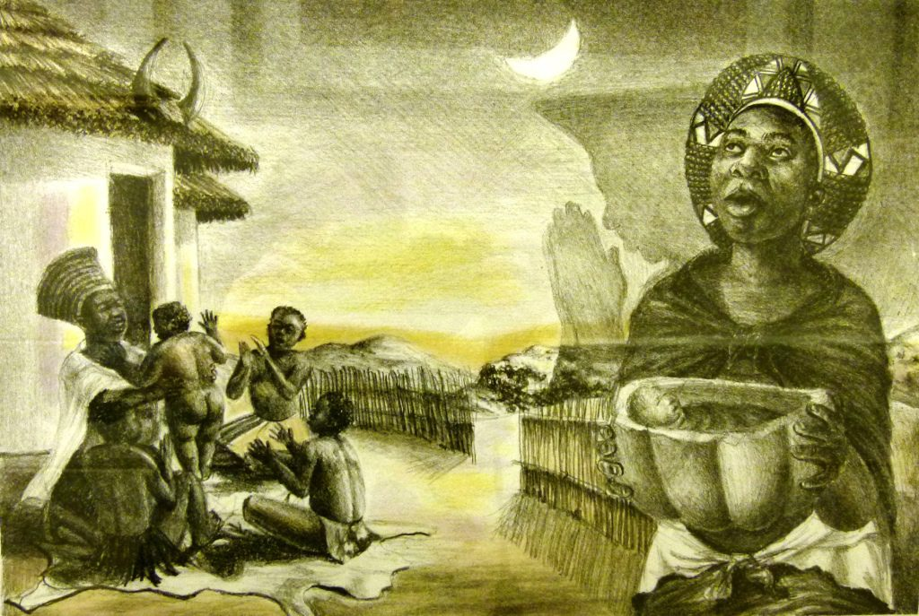 Sthembiso Sibisi, SA ( 1976 - ), Precious Gift , coloured lithograph 28-50, signed, 43cm x 31,5cm , SOLD_2