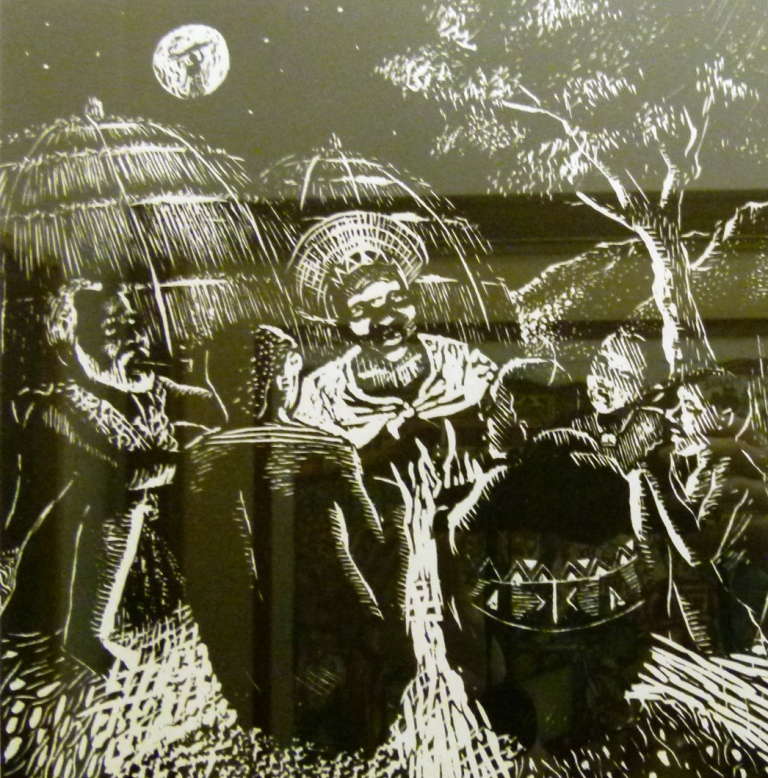 Sthembiso Sibisi, SA(1976 - 2006) , The Story Teller,Woodcut 38-60, 29cm x 27,5cm , SOLD