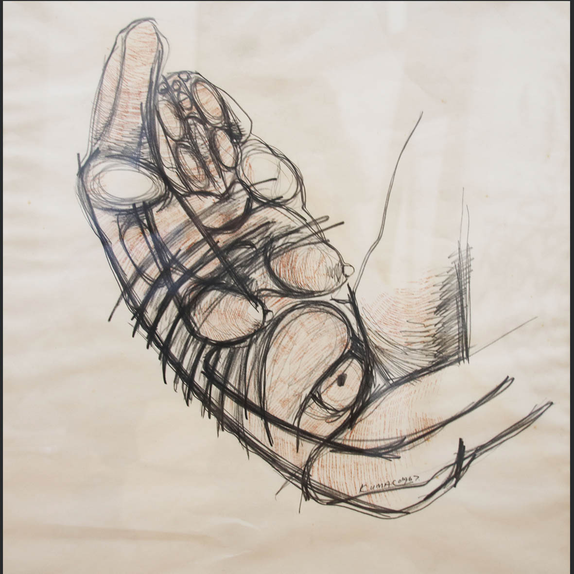 Sydney Kumalo, (SA, 1935-1988), Untitled, signed 1967, sepia and pencil on paper, 42 x 46 cm