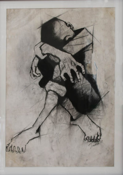 Julian Motau, SA (1948-1968) Untitled, Charcoal on paper, signed 1967, 36cm x 49cm