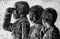 Aviwe Plaatjie, SA (1988-) Untitled signed 2015 Linocut 4/6 30cm x 20cm