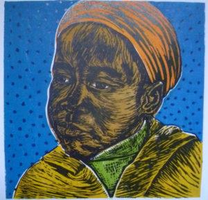 Aviwe Plaatjie, SA (1988-) Precious, signed 2014 Colour linocut, 8/10 25cm x 25cm