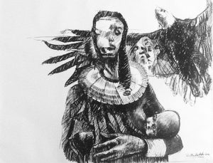 Ronald Muchatuta, Zimbabwe/SA (1980-) Prayers of an Eagle, signed 2016 Charcoal on Paper 200cm x 150cm